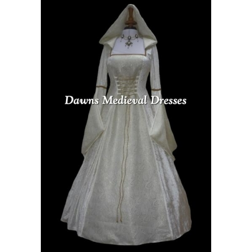 Cream Medieval Renaissance Hooded Wedding Dress Pagan